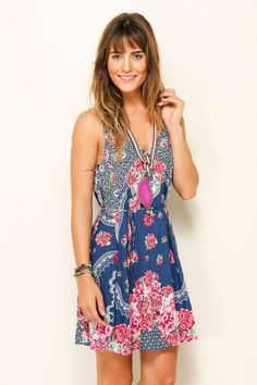 Beautiful bohemian summer frock & crystal pendant. Farm Rio.