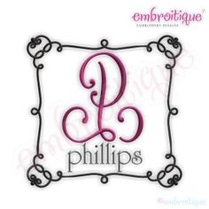 Phillips Monogram Font Frame by Embroitique on Etsy