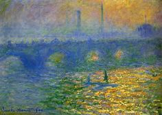Waterloo Bridge, London Artwork By Claude Oscar Monet Oil Painting & Art Prints On Canvas For Sale Claude Monet, Monet Paintings, Landscape Paintings, Landscapes, Charles Gleyre, Artist Monet, Waterloo Bridge, Beaux Arts Paris, Bridge Painting