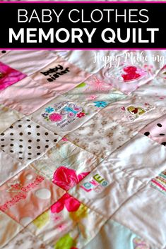 Have you ever thought about making a memory quilt from your child's baby clothes? We'll show how we stopped putting it off and got our keepsake memory quilts made! They make great baby shower and wedding gifts for sons and daughters. #babygifts #babyquilts #quilts #quiltmaking #babyclothes #babyclothesquilt #memories #memorygifts #memoryquilts #giftideas #babyshowers #babyshowerideas #babyshowergifts #howto #babies Baby Memory Quilt, Memory Quilts, Baby Quilts, Kid Quilts, Shirt Quilts, Kids Clothes Patterns, Dress Sewing Patterns, Quilt Patterns, Clothing Patterns