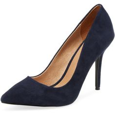 Maiden Lane Women's Classic Leather Pointed-Toe Pump - Dark Blue/Navy