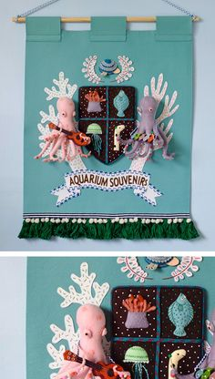 I recently ordered some felt to make a crest banner. As I wait to get started, I've been inspired by Hine Mizushima's recently-completed piece, The Royal Aquarium Souvenir Shop. This impressive pennant features a mixture of 2D and 3D elements, complete musical octopi and a creature crest. It's colorful, tactile, and completely handmade—what a regal way to honor a place (imaginary or otherwise)!