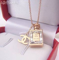 Bottle Necklace Really Beautiful perfume Bottle pendantRose Gold Plated Jewelry Necklaces Chanel Necklace, Chanel Jewelry, Rose Gold Jewelry, Chanel Clothing, Silver Jewellery, Silver Ring, Cute Jewelry, Modern Jewelry, Jewelry Accessories