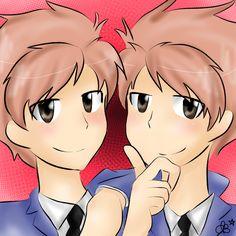 Hitachiin Twins - Ouran Highschool Host Club. Drawing by Charlotte Barry