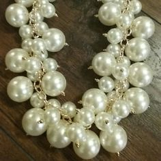 Pearl Statement Necklace MiAmI Trip 2016 Small and large pearls on gold decorative posts make this a beautiful well crafted chunky necklace. AshBmarie Jewelry Necklaces