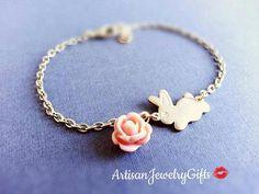 Darling little gold baby bunny pink rose charm bracelet