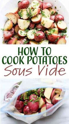 Sous vide potatoes! Make a big batch on the weekend, then reheat as needed for quick side dishes during the week. They're perfectly cooked and creamy all the way through. #sousvide #potatoes #howto #simplyrecipes
