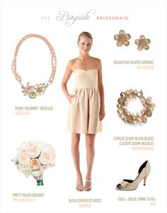 Pale Pink Blush Bridesmaid Look. Perfect for a gold/blush/white wedding palette