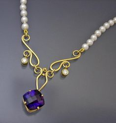 Custom 14k Amethyst, Diamonds & Pearl Scroll Necklace