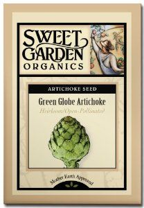 Green Globe Artichoke - Heirloom Seeds by Sweet Garden Organics. $2.98. Heirloom Seeds. 65 to 90 days to harvest. Wonderful streamed then dipped in butter or hollandaise sauce!. Produces artichokes with nutty-flavored, meaty petals. 20 seeds - open-pollinated so you can harvest seed and save for next year's planting!. The Green Globe Artichoke plant originated in southern Europe and has been an American favorite for years. Nutty-flavored meaty petals are excellent steamed or bo...