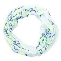 Tube scarf with all over embroiderie in fresh lime and kobalt blue colors.
