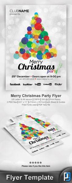 Merry Christmas Party Flyer Template on Behance