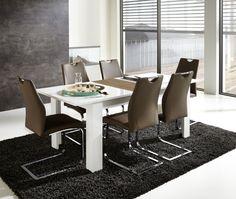 Rozkládací jídelní stůl, rozkládací funkce - 1 prodlužovací deska 40 cm, možné prodloužení ze 160 cm na 200 cm Provedení: deska stolu - bílá MDF, prodlužovací deska - balkánský dub MDF, podnoží - bílý dekor Š/V/H: 160-200/75/90 cm Dining Chairs, Dining Table, Conference Room, Furniture, Home Decor, Decoration Home, Room Decor, Dinner Table, Dining Chair