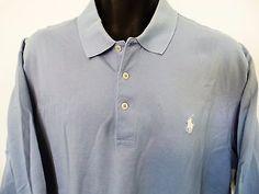 Mens-Polo-Golf-Ralph-Lauren-Shirt-Light-Blue-Size-XL-White-Pony-Logo