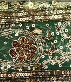 Antique Vintage Sari Border, embroidered with metalic threads, sequins and beads. Gold Embroidery, Embroidery Fashion, Motif Paisley, Saree Border, Textiles, Gold Work, New Hobbies, Ribbons, Embellishments