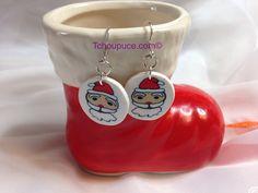 Santa Face Earrings By ISabelleClayArt-Tchoupuce