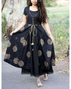 Dresses - Black And Gold Tree Print Jacket Dress Salwar Designs, Kurta Designs Women, Kurti Neck Designs, Dress Neck Designs, Kurti Designs Party Wear, Designs For Dresses, Printed Kurti Designs, Frock Design, Sari Design