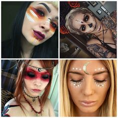 Voodoo-Priesterin-Make-up-Ideen. I absolutely LOVE all of these designs. Voodoo Party, Voodoo Halloween, Pretty Halloween, Halloween Inspo, Halloween Cosplay, Halloween Make Up, Halloween Costumes, Chicken Halloween, Halloween Party