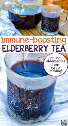 Try this comforting, immune-boosting elderberry tea to fight off colds and flu this season. There are 2 simple ways to make it: with dried elderberries or by using leftover elderberries after making homemade elderberry syrup. No more waste! Elderberry Honey, Elderberry Gummies, Elderberry Recipes, Cold Remedies, Natural Health Remedies, Herbal Remedies, Tea Recipes, Smoothie Recipes, Whole Food Recipes