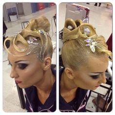 Dancesport ballroom hair Loving the silver glitter detailing