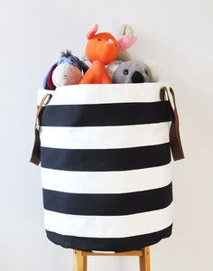 Black and white striped toy organizer bag