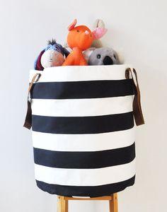 Black and white striped toy organizer bag