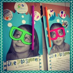 "Take a picture of students and have them make a mask for their pictures.  Add a straw and have students fill out an about me sheet.  First Day of Fifth Grade.  ""Dive into Grade Five"" Ocean Classroom Theme."