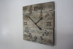 Large Rustic Wall Clock, Reclaimed Gray Pallet Wood CUSTOM.  Natural.  Raw Wood.  Repurposed Wood. on Etsy, $130.00