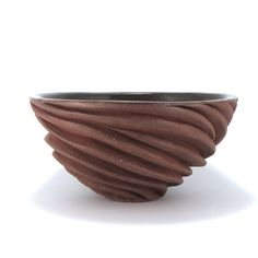 Carved Modern Sculptural Ceramic Bowl in Burnt Red by jtceramics