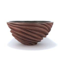 Carved Modern Sculptural Ceramic Bowl in Burnt Red by jtceramics