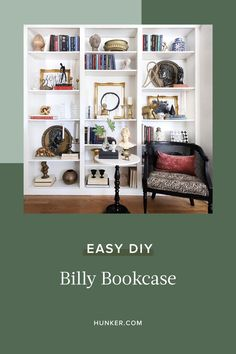 IKEA's Billy bookcase is one of the brand's most well-loved products.  Let's take a look at the different ways you can make a Billy look like a legit built-in. #hunkerhome #ikea #ikeahack #bookcase #ikeaideas