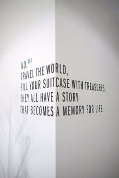 """Travel the world. Fill your suitcase with treasures. They all have a story that becomes a memory for life. Room Inspiration, Interior Inspiration, Travel Quotes, Home Deco, Home And Living, Living Room, Interior Styling, Interior Design, How To Become"