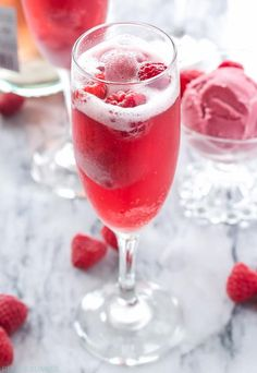 Brunch Cocktails: Raspberry Sorbet Bellinis Recipe