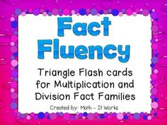 This set of 65 multiplication Triangle Fact Fluency Flash Cards will help your students master their multiplication facts. Students enjoy using these. Cards also reinforce the connections between multiplication and division and build number sense. Common Core Multiplication, Multiplication And Division, Fast Finishers, Fact Families, Third Grade Math, Math Facts, Number Sense, Finger, Triangle