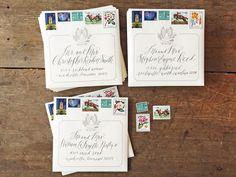 custom wedding design / vintage stamps / postage / equestrian / monogram / crest / save the date design / Tenn Hens Design