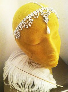 The Marie AntoinetteCrystal and Pearl Deco  Bridal Headpiece  by ThePrancingFox,