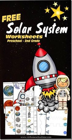 123 Homeschool 4 Me has a FREE Space themed learning Pack. Kids will have fun practicing their letters, counting, using scissors,using ordinal words, constellations, graphing, grammar, and so much more with these fun Solar System themed worksheets for kids Toddler, Preschool, Kindergarten, 1...