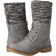 Rocket Dog Temecula (Grey Heather) Women's Lace-up Boots ($53) ❤ liked on Polyvore featuring shoes, boots, grey, vegan shoes, lace-up platform boots, rugged boots, lace up boots and grey boots