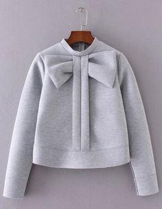 Grey Bow Pullover Sweatshirt