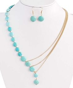 Loving this Turquoise & Goldtone Split Necklace & Earrings on #zulily! #zulilyfinds
