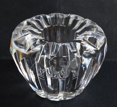 Vtg Irish Waterford Crystal Single Candle Holder Stick Low Clear Cut Glass  #Waterford