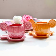 $3.79 Pure tone. The Mickey shape Ceramics couple paragraph Disney the etched ceramic cup + saucer coffee cup and saucer-ZZKKO