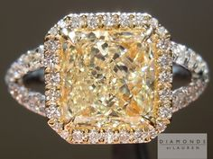 radiant cut pink/white/yellow diamond ring (this is probably the most beautiful engagement ring i've ever seen!!)