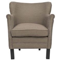 """Birch wood arm chair with nailhead trim.   Product: ChairConstruction Material: Solid birch wood and linenColor: BrownFeatures:  Cushioned seating to provide the utmost comfortNailhead trimWill enhance any decor  Dimensions: 29.5"""" H x 26.5"""" W x 29"""" D"""