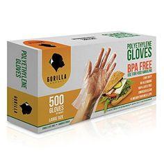 500 BPA Free Disposable Poly PE Gloves Large, Food Grade