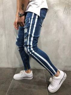 Men Skinny Fit Side DouStripe Ripped Jeans - Blue 4028 - 34 x 30 Slim Fit Ripped Jeans, Skinny Jeans Style, Casual Jeans, Skinny Fit, Men Casual, Pants Style, Striped Jeans, Blue Jeans, Denim Jeans