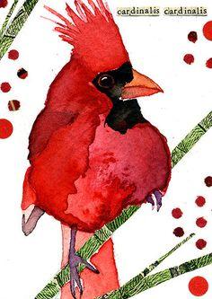 Northern Cardinal | Art Card | Watercolor | Carol Kroll 2013