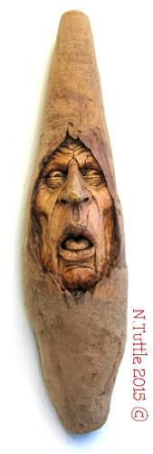 """""""Insight to Reality""""     14¾ inches tall and 3½ inches across his widest point.  Signed and dated:   N. Tuttle 8/30/15"""