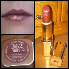 """Ľoréal paris lipstick bought for £6.99 at boots 362 place vendome glitter effect colour  This what it looks like. #loreal #paris #lipstick #boots #brown…"""