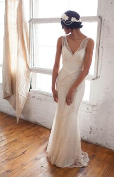 "Beaded Lace Art Deco 1930s Inspired Sleeveless Bridal Gown with Bias Silk Slip, Lace Train and Bustle, Low V back, Mermaid, the ""Gemma"""